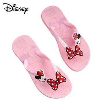 цена на Original Disney Minne Girls Cartoon Flip-flops Summer New PVC Soft Bottom Non-slip Breathable Casual Beach Shoes Home Flip-flops