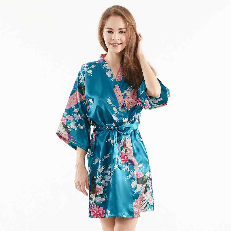 Imitated Silk Fabric Robe Female Short Peacock Kimono Pajamas Bathrobe European And American-Style Hot Selling INS