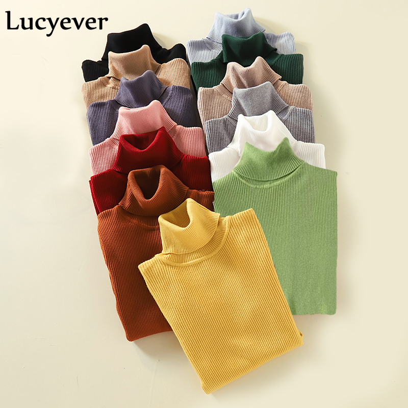 Lucyever Turtleneck Women Pullover Sweater Spring Jumper Knitted Basic Top Fashion Autumn Long Sleeve Korean Ladies Clothes 2020 2