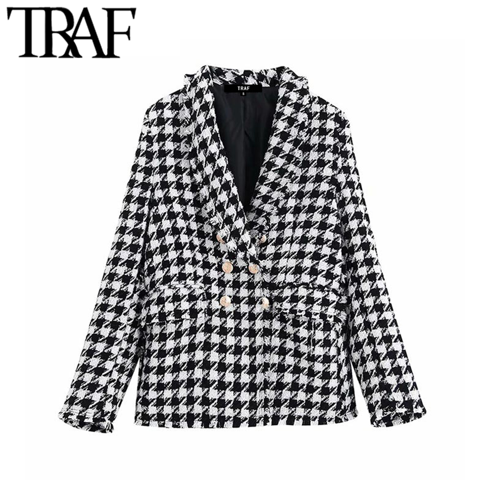TRAF Women Tops Vintage Houndstooth Double Breasted Blazer Coat Fashion Long Sleeve Frayed Trims Outerwear Chic Plaid Jacket