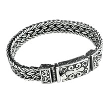 New real solid S925 pure silver bracelet for man personalized woven bra