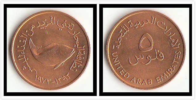 Zjednoczone emiraty arabskie 5 Fils monety F.A.O bliski wschód azja 100% prawdziwa oryginalna moneta