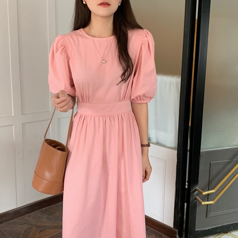 H8cb16ba8eba44cef819a76014ff1b5d9X - Summer O-Neck Short Sleeves Elastic-Waist Calf Length Solid Dress