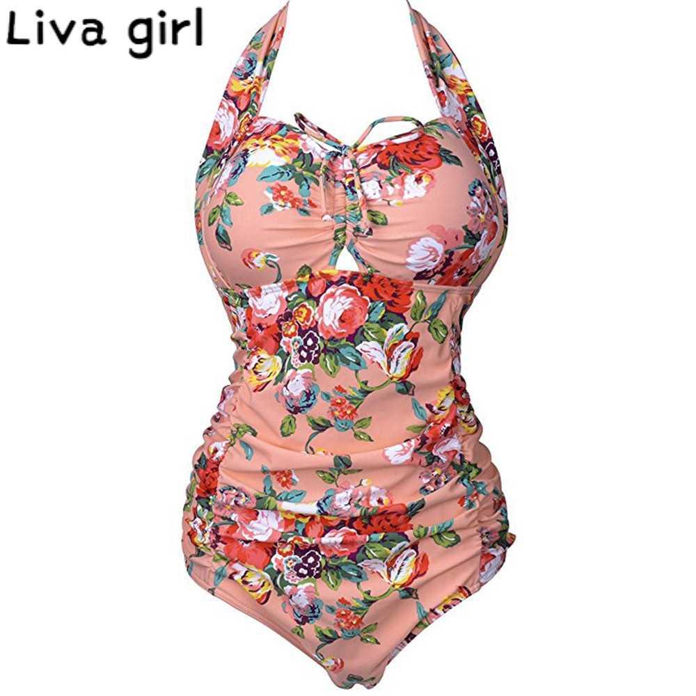 Liva girl-bañador de talla grande de una pieza, ropa de baño con estampado de realce, Bikini para mujer, traje de baño de estilo vendaje acolchado, Monokini, traje de baño 202