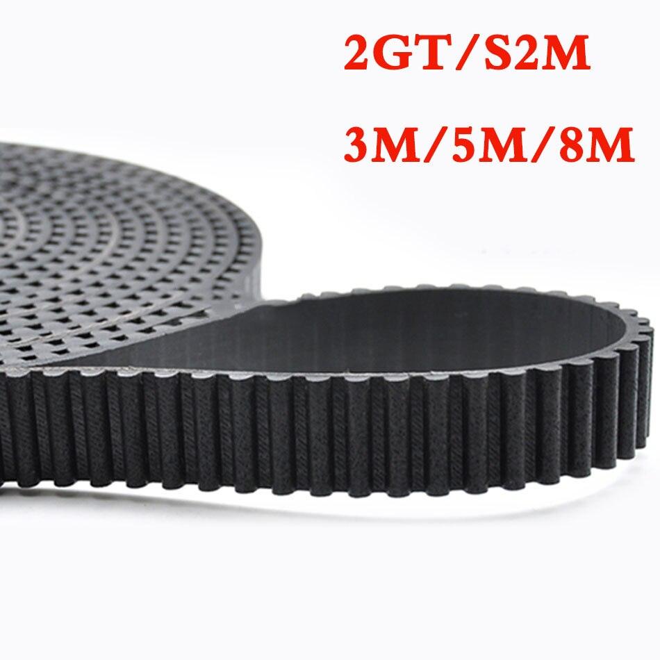 Courroie de distribution en caoutchouc de 1 mètre courroie synchrone de Transmission ouverte noire pour 2GT S2M 3M 5M 8M MXL XL L largeur 6/10/15/20/25/30mm