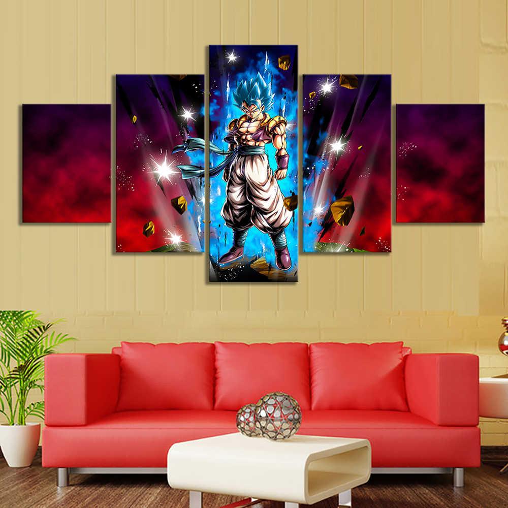 การ์ตูน HD ภาพ Dragon Ball Super Broly Super Saiyan Blue Gogeta อะนิเมะโปสเตอร์ศิลปะผ้าใบสำหรับห้องนั่งเล่น decor