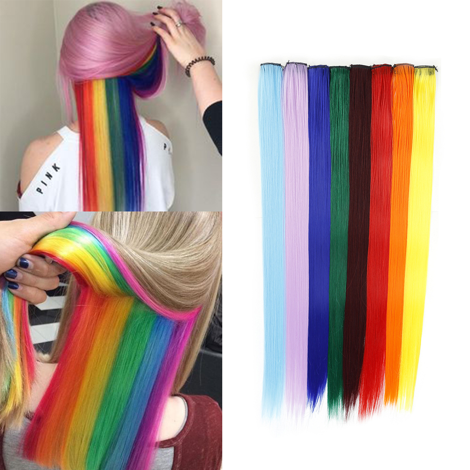 "H8cb1acdbc9234ca0b77e326581c3dd64n - BUQI Colored Highlight Synthetic Hair Extensions Clip In One Piece Color Strips 20"" Long Straight Hairpiece For Sports Fans"