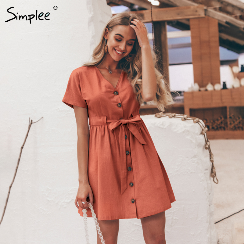Simplee Vintage button women dress shirt V neck short sleeve cotton linen short summer dresses Casual