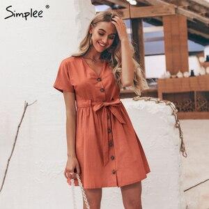 Image 3 - Simplee bottoni Vintage camicia di vestito delle donne con scollo a V manica corta in cotone di lino breve estate abiti da ufficio Casual coreano abiti