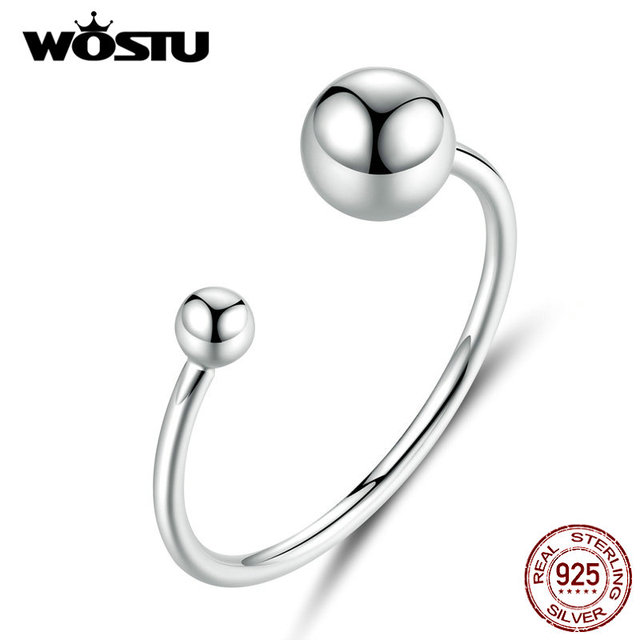 WOSTU Authentic 925 Sterling Silver Opening Rings Cute Silver Ball Simple Adjustable Rings For Women Fashion Jewelry CQR575