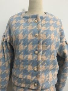 Image 5 - Vintage Ngọt Ngào Nữ Ngọc Trai Nút Kiểm Tra Bông Kẻ Kẻ Sọc Áo Cao Cấp Một Dòng Mini Váy Ngắn Tay Dài Phù Hợp Với 2 bộ Bộ