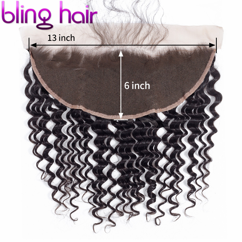 bling hair Deep Wave 13x6 Lace Frontal Closure Pre plucked Natural Hairline Brazilian Remy Human Hair Closure With Baby Hair-in Closures from Hair Extensions & Wigs