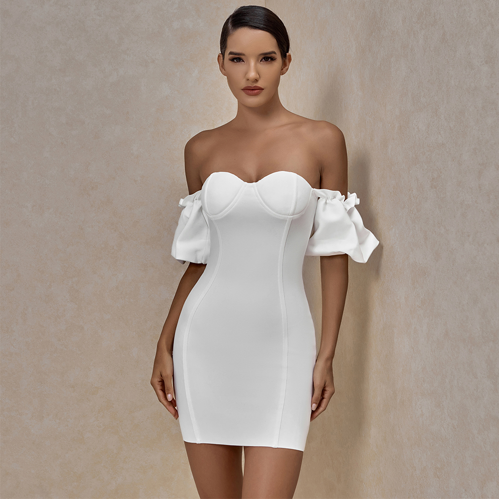 Bandage Dress Women's Summer 2021 White Party Dress Ladies Red Off Shoudler Sexy Bodycon Dress Evening Club Birthday Outfits