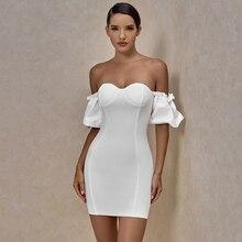 Ocstrade Off Shoulder White Bandage Dress 2020 Summer New Arrival Women Mini Bandage Dress Bodycon Sexy Night Club Party Dress