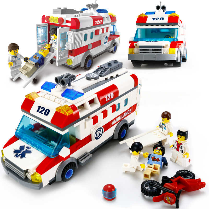 Kids Love 328pcs Ambulance Car Legoings Model Building Blocks Field Armies Cannon Small Particles Bricks Children Enlighten Toys