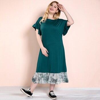 Siskakia-vestido informal de talla grande, veraniego 2020, para mujer, cuello redondo, volantes, manga corta, Midi, vestidos de remiendos verde con dobladillo