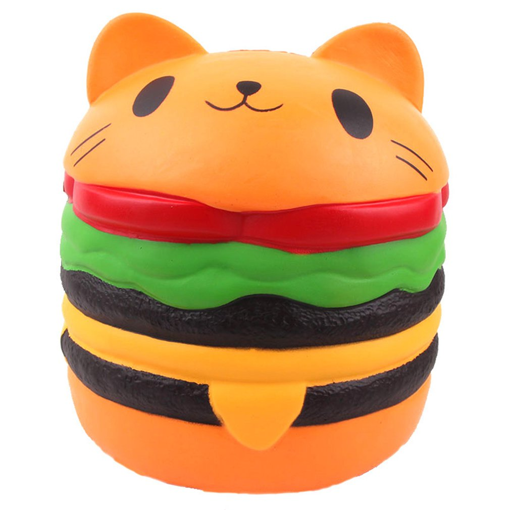 Simulated Cartoon Big Burger Cat Toy Decoration Slow Rebound Decompression Toy Foam Relaxed Toy Cake Sample Model