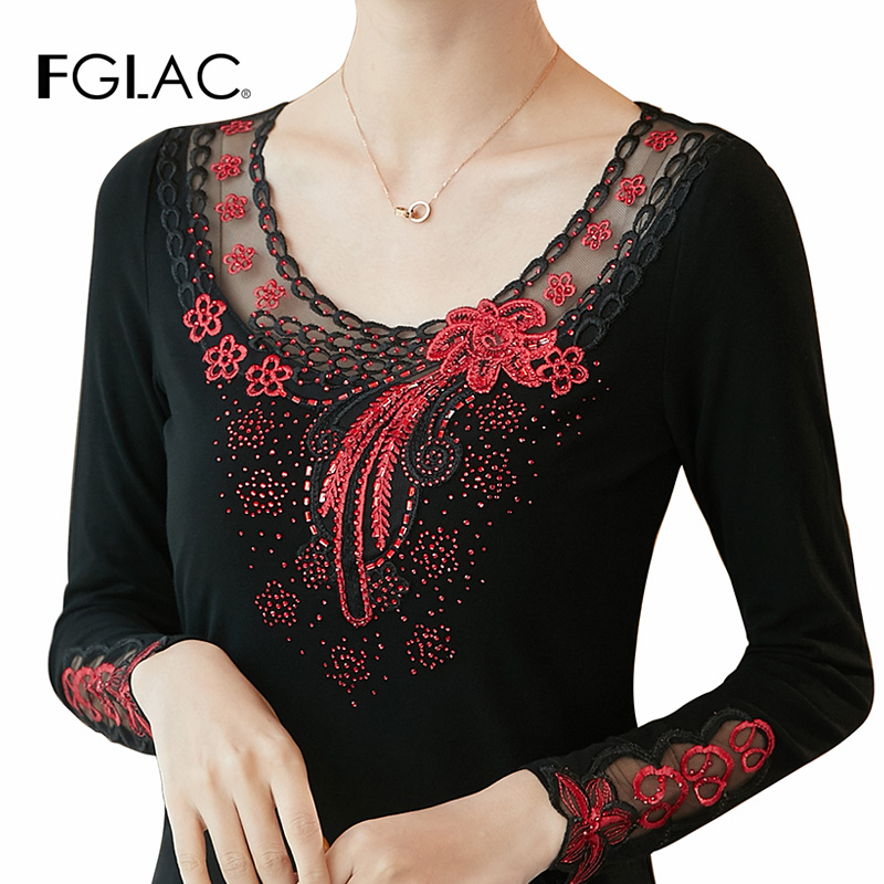 Fashion short sleeve women   blouse     shirt   Elegant slim Embroidered Hollow out Mesh   shirt   Plus size Summer women tops   blouses