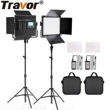 TRAVOR oświetlenie fotograficzne L4500K lampa wideo 2 zestaw ze statywem możliwość przyciemniania Studio panle światło dla studio photograpy zdjęcie LED światło