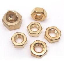 Gb6170 cobre porca sextavada porca de cobre parafuso tampa hexagonal latão hexagonal hexagonal porcas porca M1.4-M10 20 peças