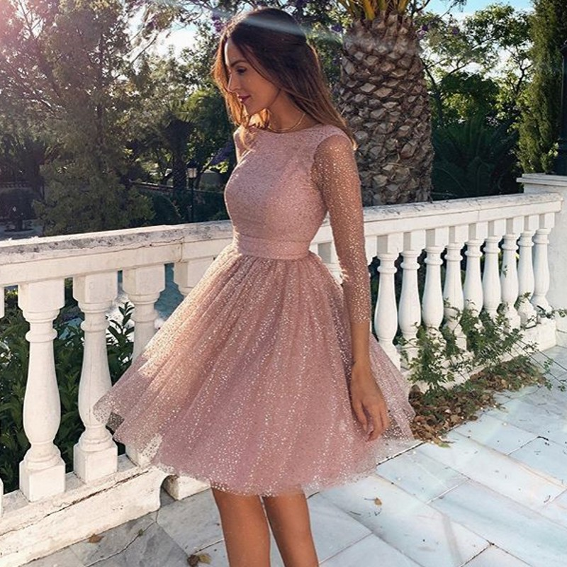 Sleeveless Pink   Cocktail     Dresses   Formal Party Gowns Backless Knee Length Woman Short Fashion Gold Sequins Homecoming   Dress