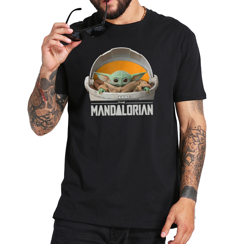 Baby Yoda The Mandalorian T Shirt Star Wars T-Shirt The Child Floating Pod Movie Homme EU Size 100% Cotton Tee Tops