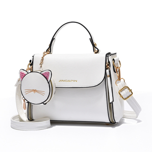 High Quality 2020 Solid Color PU Leather Female Bucket handbags Cross body Bag Lady's Fashion Brand Designer Women's White Bags