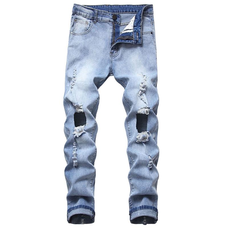 Men Denim Trousers New Hole Jeans Men Hole Denim Bra Chain Tight Skinny Street Clothing Personality