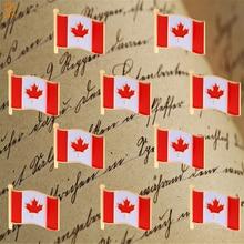 Канадский флаг булавка лацкан брошь красный кленовый лист логотип коллекция значок 10 шт Pin-004