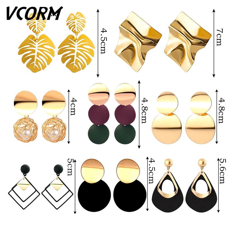 New Korean Acrylic Earrings For Women Statement Vintage Geometric Gold Dangle Drop Earrings 2019 Female Wedding Fashion Jewelry 4