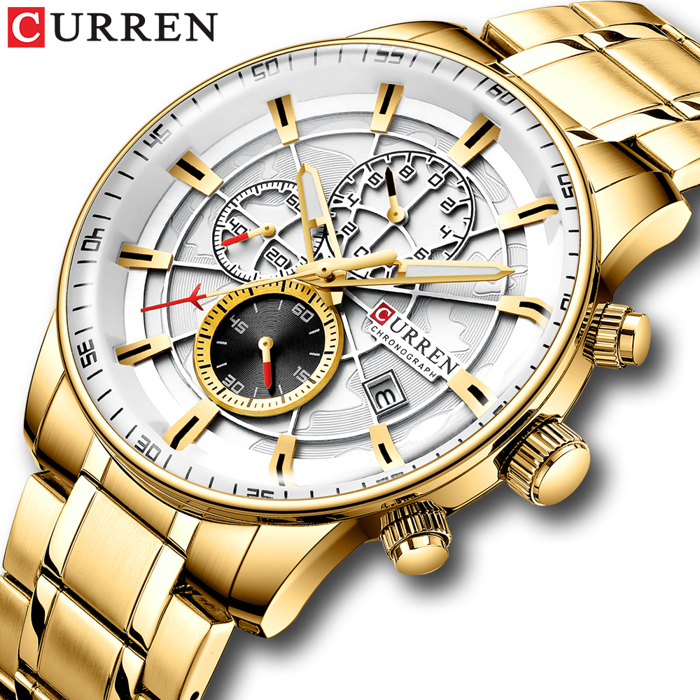 NEW CURREN Brand Watch Men Top Luxury Sport Waterproof Quartz Watches Mens Leather Chronograph Date Male Clock relogio masculino(China)