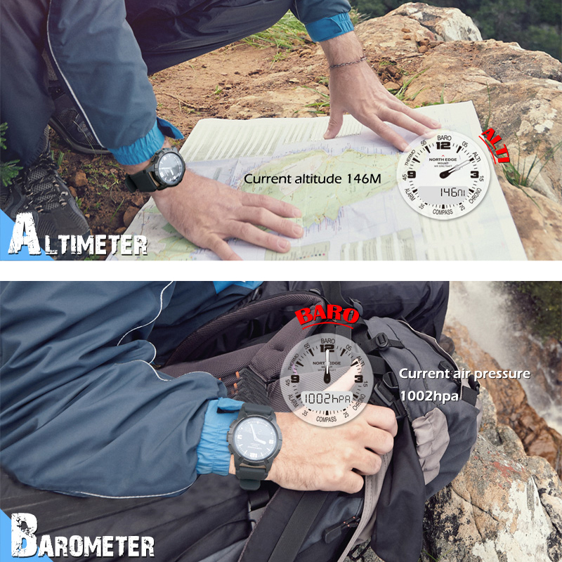 Цифровые часы, водонепроницаемые, мужские часы NORTH EDGE, спортивные, военные, светодиодный браслет, цифровые часы, relogio masculino, часы с Bluetooth - 5