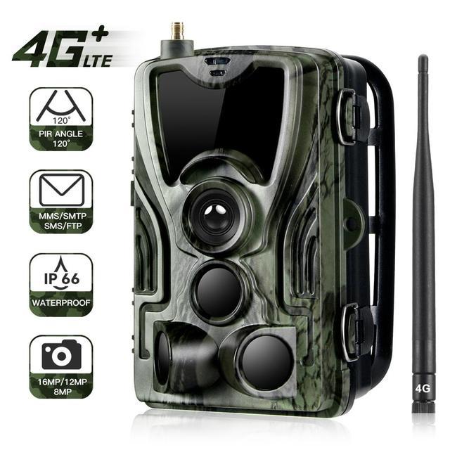 Hc801lte 4g trail camera mms sms e mail caça câmera 16mp 1080p 940nm ir led night vision selvagem câmera 0.3s gatilho foto armadilhas