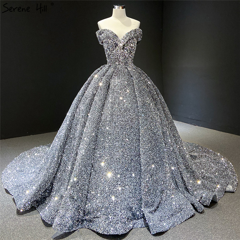 Serene Hill Indigo Blue Gold Sequins Wedding Dress 2019 Dubai Sleeveess Sexy Luxury Bridal Gown Custom Made CHM66742 1