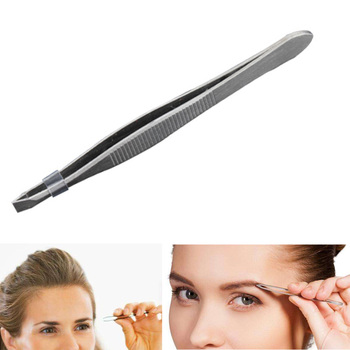 Women Stainless Steel Eyebrow Clipper False Eyelash Extension Applicator Tweezer Hair Removal M88 image