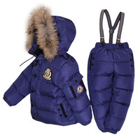fashion kids down clothes pants set thick fur hooded skiing set for 1 6years child boys girls Winter down clothes set outerwear