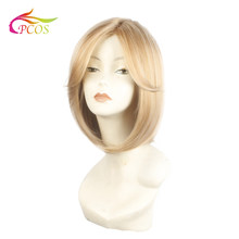 Short Straight Hair Bob Wig With Bangs Synthetic Wigs For african american Women Heat Resistant Blonde Wig(China)