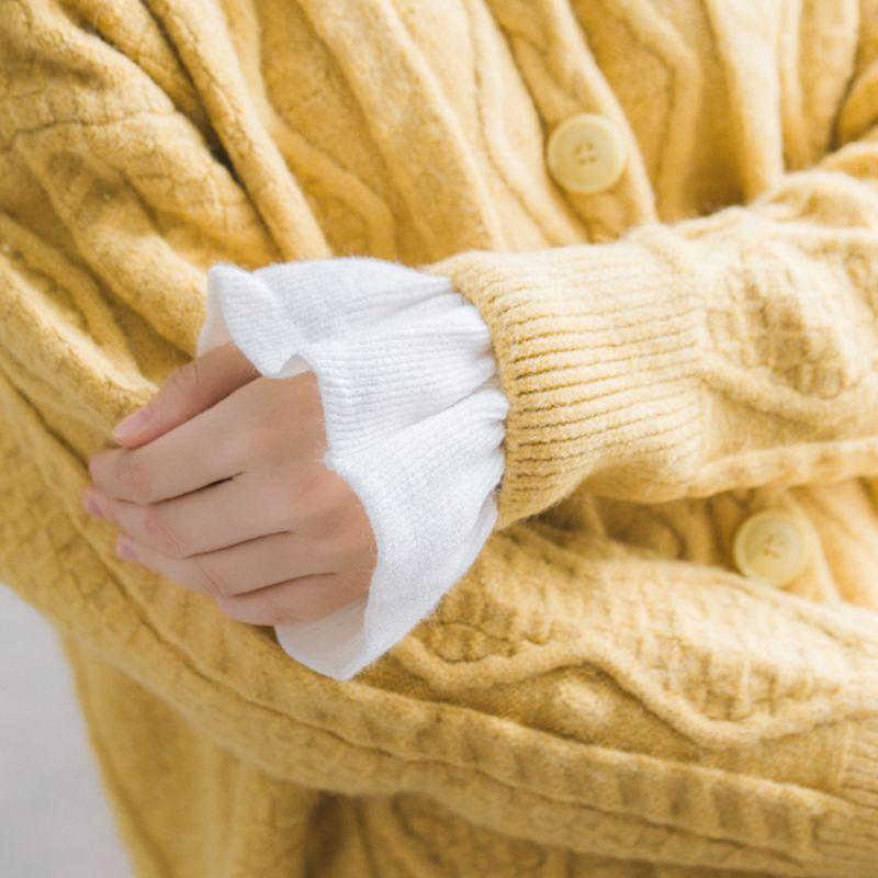 2pcs/pair Knitted Fake Cuff Gloves Women Girls Korean Style Big Wave Wrist Decor LX9E