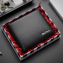 BISON DENIM Genuine Leather RFID Wallet Male Multifunctional Card Holder with Coin Purse Soft Standard Money Bag W4495
