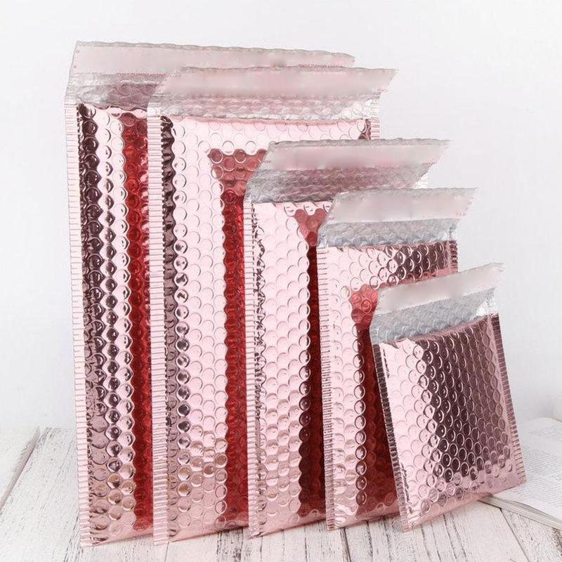 1Pc 11cmx13cm 15cmx20cm Rose Gold Bubble Bag Waterproof Envelop Bags Rose Gold Foil Bubble Mailer For Gift Packaging Padded 2021
