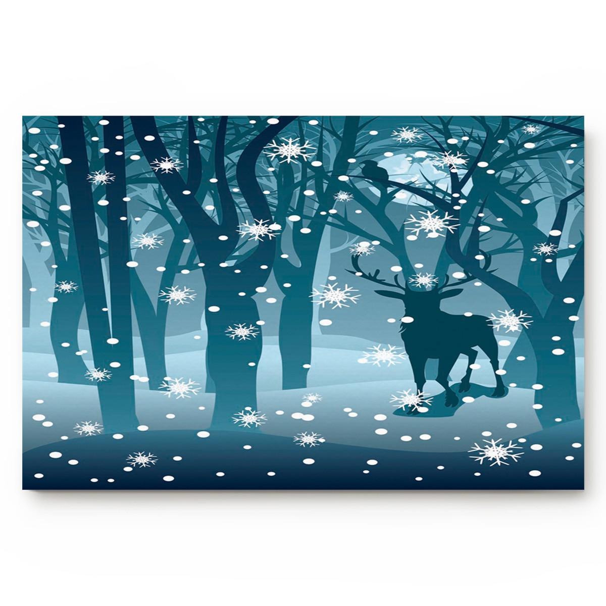 Us 13 06 40 Off Elk Snowflake Forest Silhouette Blue Christmas Bath Rugs Christmas Doormat Non Slip Door Mat Carpet Bathroom Accessories In Mat From