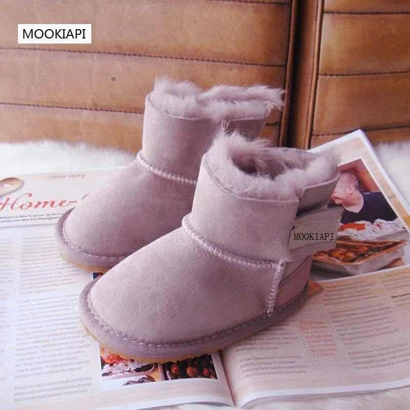 В 2019 году, новые австралийские детские зимние ботинки из овчины и меха, чистая шерсть, высококачественные зимние сапоги, бесплатная доставка