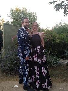 Image 5 - PYJTRL Brand 2018 Tide Men Navy Blue Floral Print Fashion Casual Suits Latest Coat Pant Designs Wedding Groom Stage Costume