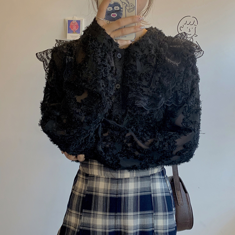 H8cb36c6c4d684f3fba63c9b2136bb985F - Spring / Autumn Ruffled Collar Puff Sleeves Lace See Through Blouse