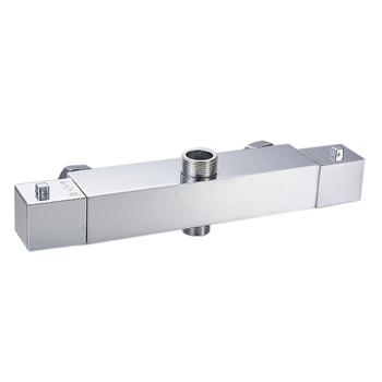 Square Chrome Thermostatic Exposed Shower Bar Mixer Brass Diverter Valve Bath Faucet Diverter Valve