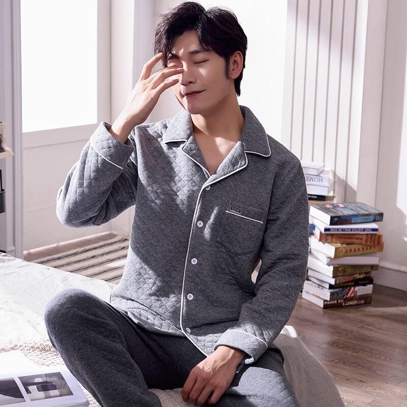 Winter Warm Long Cotton Padded Men's Pyjamas Wadded Jacket Pajamas Set Casual Sleepwear Pyjamas Nightwear Pijamas 3XL Quilted
