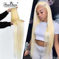 Promqueen-extensiones de cabello humano brasileño tejido, cabello virgen 9A de 30, 32, 38 y 40 pulgadas, mechones de pelo largo Rubio liso, 613 paquetes