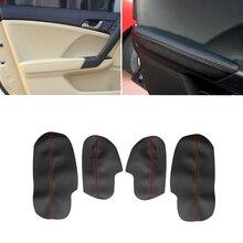 สำหรับHonda Accord 2009 4Pcsสีดำสีแดงสายไมโครไฟเบอร์ภายในรถยนต์ที่เท้าแขนประตูแผงเปลี่ยนสติกเกอร์trim