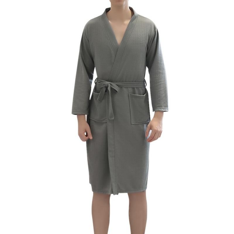 MoneRffi Men Plus Size Cotton Bathrobes Autumn Kimono Long Sleeve Sleepwear Men Nightgowns Homewear Pijama Long Bathrobe 2019