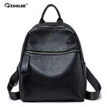 ZOOLER 100% Real Genuine Cow Leather Backpack Black Women 2019 New First Layer Cowhide Book Bag  Mochila Bolsas#W201